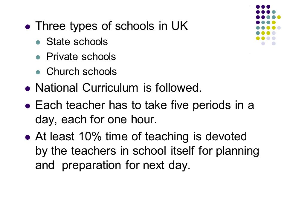 Three types of schools in UK State schools Private schools Church schools National Curriculum is followed.
