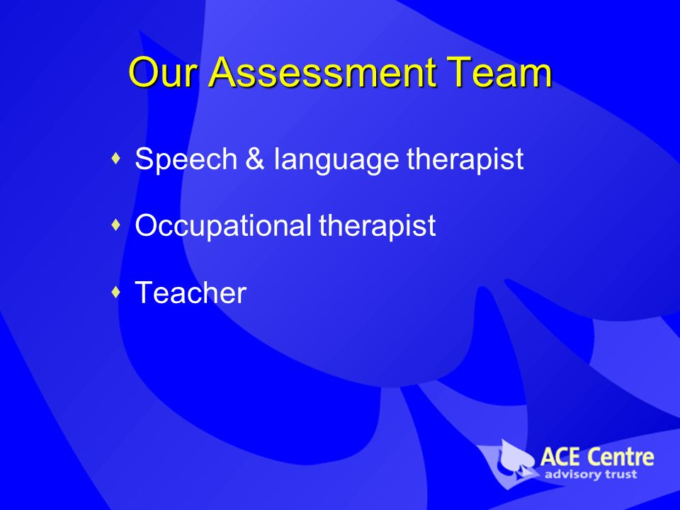 Our Assessment Team Speech & language therapist Occupational therapist Teacher