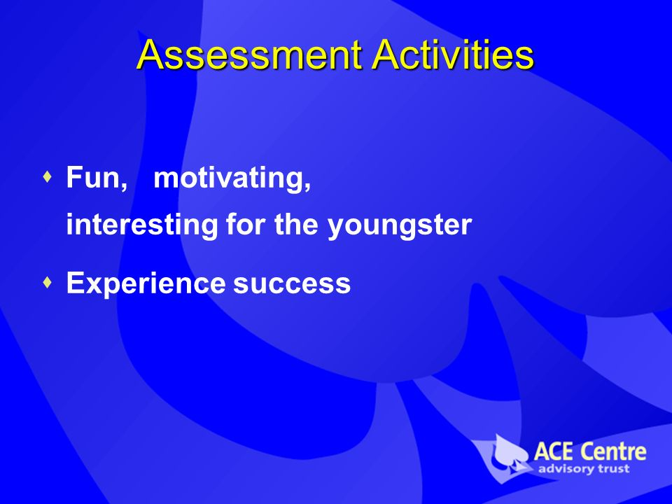 Assessment Activities Fun, motivating, interesting for the youngster Experience success