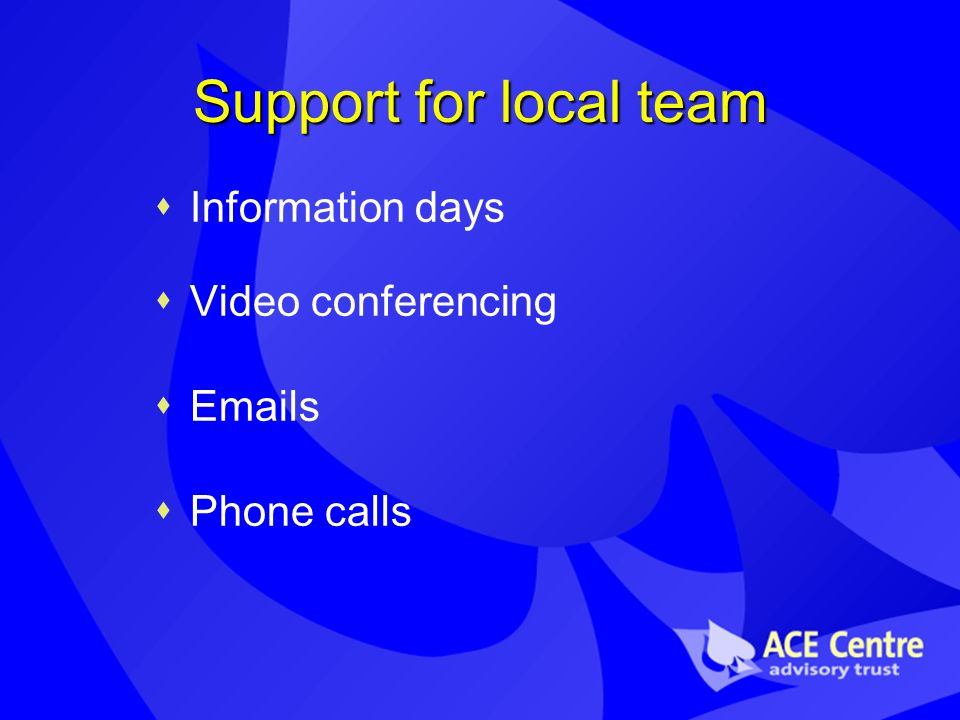 Support for local team Information days Video conferencing Emails Phone calls