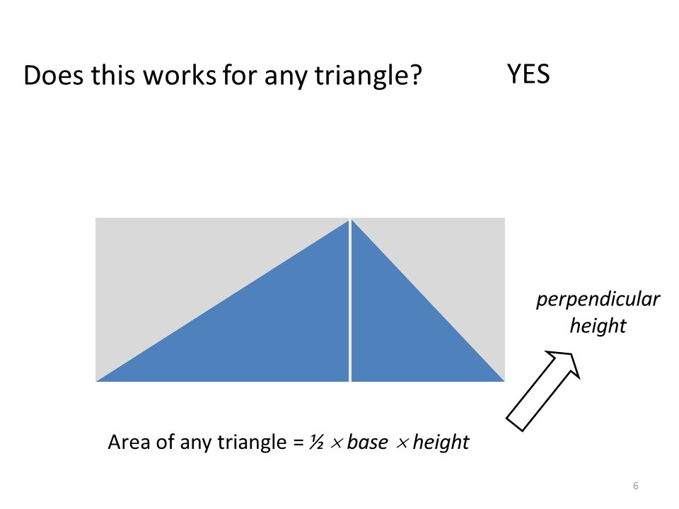 Does this works for any triangle? Area of any triangle = ½ base height base perpendicular height YES 6