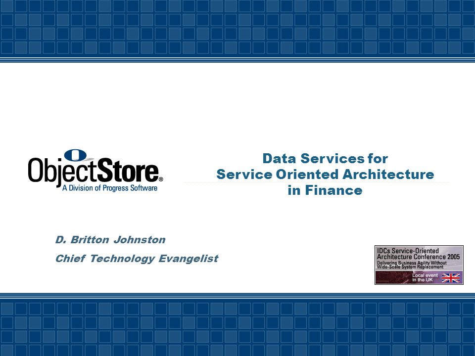 Data Services for Service Oriented Architecture in Finance D.