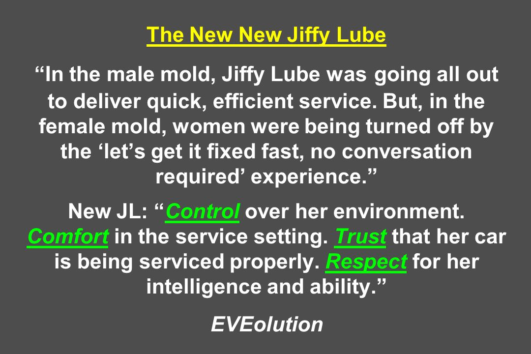 The New New Jiffy Lube In the male mold, Jiffy Lube was going all out to deliver quick, efficient service.