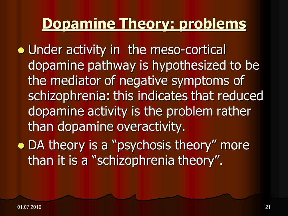 01.07.201021 Dopamine Theory: problems Under activity in the meso-cortical dopamine pathway is hypothesized to be the mediator of negative symptoms of