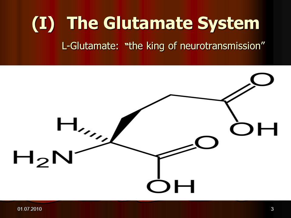 01.07.20103 (I)The Glutamate System L-Glutamate: the king of neurotransmission