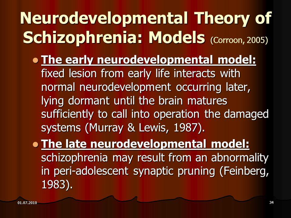 34 01.07.2010 Neurodevelopmental Theory of Schizophrenia: Models () Neurodevelopmental Theory of Schizophrenia: Models (Corroon, 2005) The early neuro
