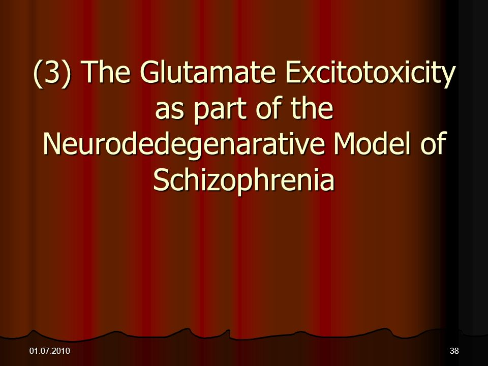 01.07.201038 (3) The Glutamate Excitotoxicity as part of the Neurodedegenarative Model of Schizophrenia