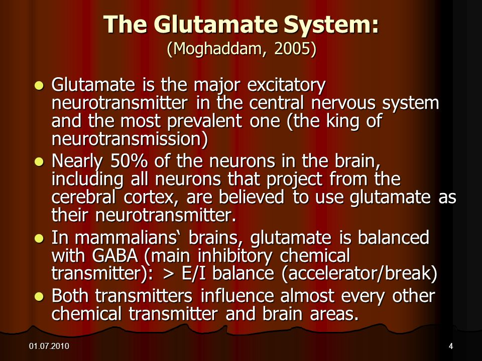 01.07.20104 The Glutamate System: (Moghaddam, 2005) Glutamate is the major excitatory neurotransmitter in the central nervous system and the most prev