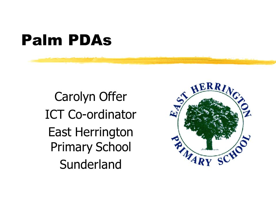Palm PDAs Carolyn Offer ICT Co-ordinator East Herrington Primary School Sunderland