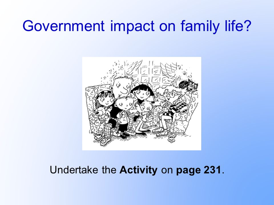 Government impact on family life? Undertake the Activity on page 231.