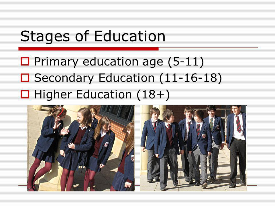 Stages of Education Primary education age (5-11) Secondary Education (11-16-18) Higher Education (18+)