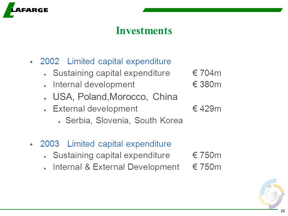 22 Investments w 2002 Limited capital expenditure l Sustaining capital expenditure 704m l Internal development 380m l USA, Poland,Morocco, China l Ext