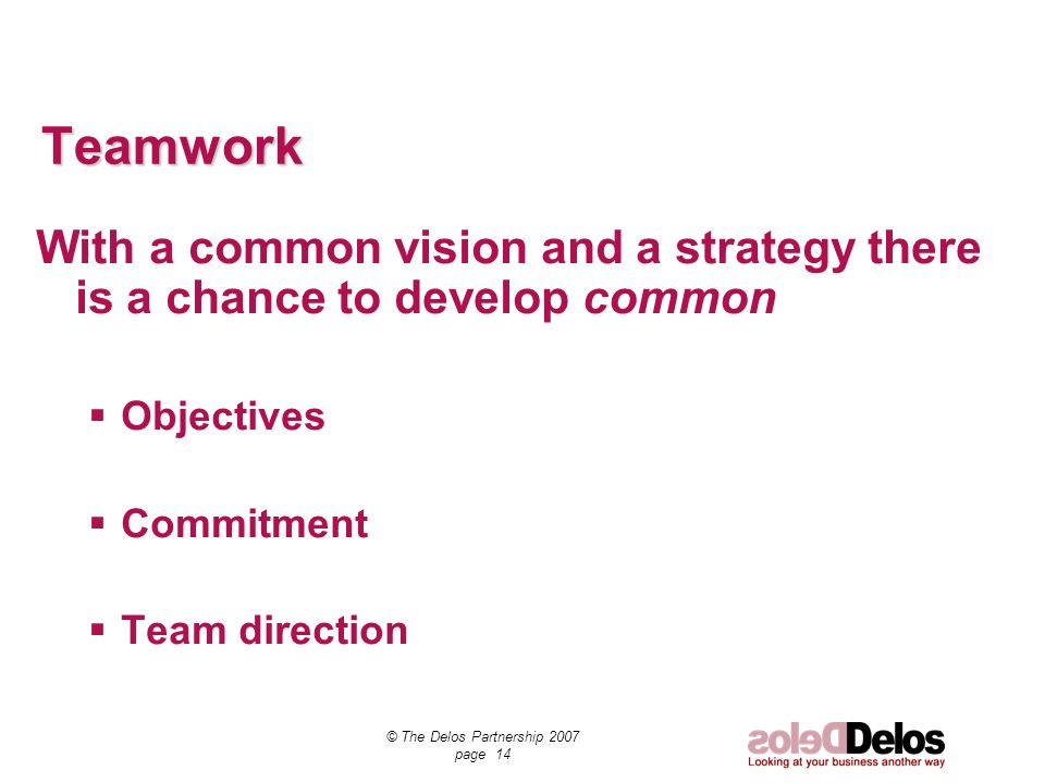 © The Delos Partnership 2007 page 14 Teamwork With a common vision and a strategy there is a chance to develop common Objectives Commitment Team direction