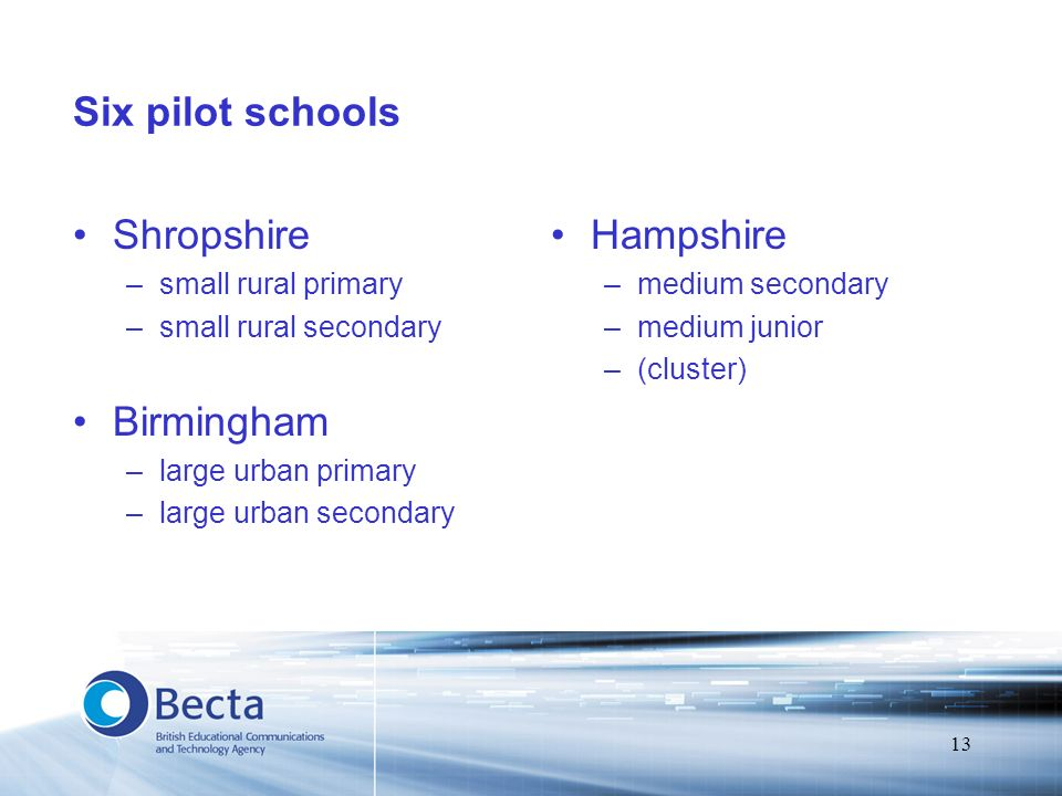 13 Six pilot schools Shropshire –small rural primary –small rural secondary Birmingham –large urban primary –large urban secondary Hampshire –medium s