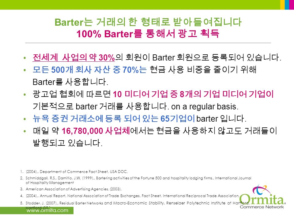 www.ormita.com 30% Barter. 500 70% Barter. 10 8 barter. on a regular basis. 65 barter. 16,780,000. 1.(2004)., Department of Commerce Fact Sheet. USA D