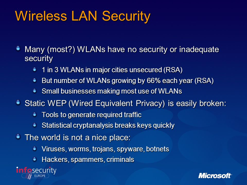 Wireless LAN Security Many (most?) WLANs have no security or inadequate security 1 in 3 WLANs in major cities unsecured (RSA) But number of WLANs growing by 66% each year (RSA) Small businesses making most use of WLANs Static WEP (Wired Equivalent Privacy) is easily broken: Tools to generate required traffic Statistical cryptanalysis breaks keys quickly The world is not a nice place: Viruses, worms, trojans, spyware, botnets Hackers, spammers, criminals