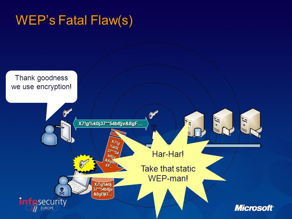 WEPs Fatal Flaw(s) X7!g%k0j37**54bf(jv&8gF… X7!g%k0j37**54bf(jv&8gB)£F..
