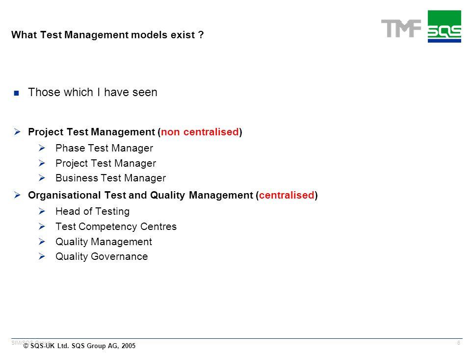 © SQS-UK Ltd. SQS Group AG, 2005 6 SIM/SQS Group What Test Management models exist .