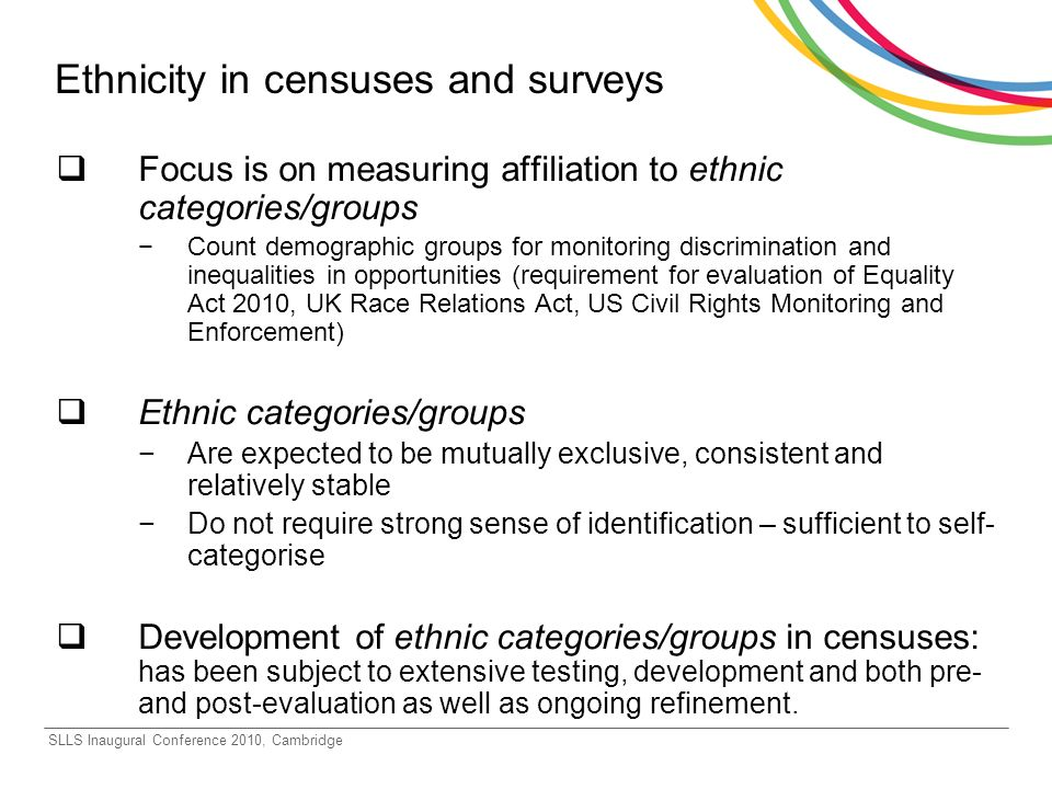 Ethnicity in censuses and surveys Focus is on measuring affiliation to ethnic categories/groups Count demographic groups for monitoring discrimination and inequalities in opportunities (requirement for evaluation of Equality Act 2010, UK Race Relations Act, US Civil Rights Monitoring and Enforcement) Ethnic categories/groups Are expected to be mutually exclusive, consistent and relatively stable Do not require strong sense of identification – sufficient to self- categorise Development of ethnic categories/groups in censuses: has been subject to extensive testing, development and both pre- and post-evaluation as well as ongoing refinement.