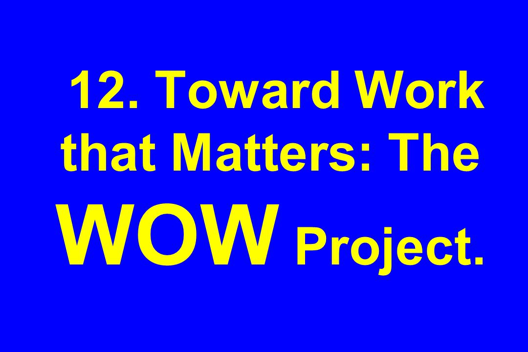 12. Toward Work that Matters: The WOW Project.