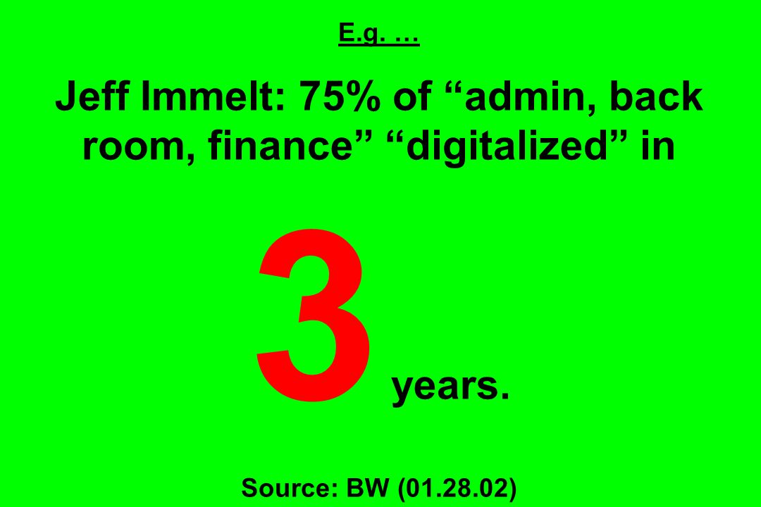 E.g. … Jeff Immelt: 75% of admin, back room, finance digitalized in 3 years. Source: BW (01.28.02)