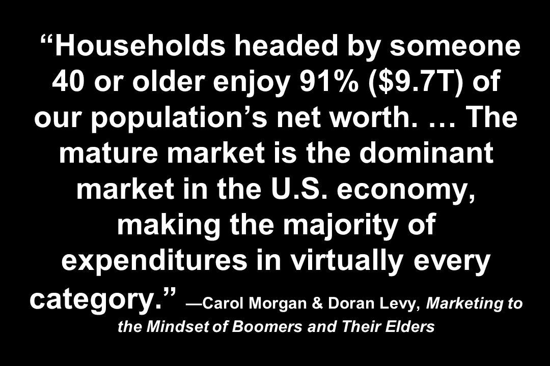 Households headed by someone 40 or older enjoy 91% ($9.7T) of our populations net worth.