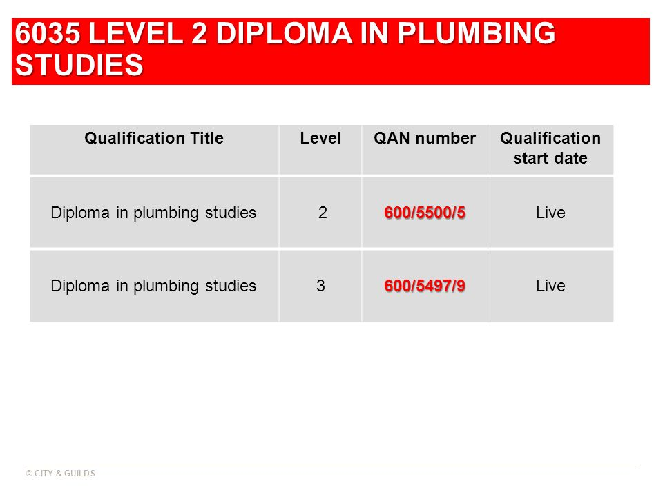6035 LEVEL 2 DIPLOMA IN PLUMBING STUDIES Qualification TitleLevelQAN numberQualification start date Diploma in plumbing studies 2600/5500/5Live Diplom