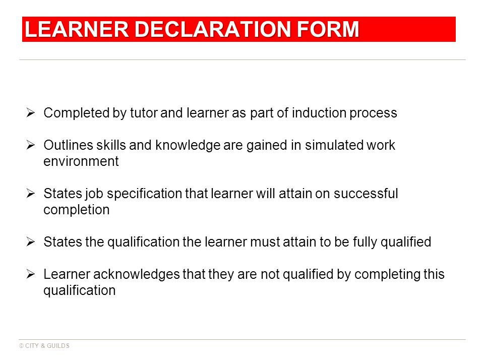 © CITY & GUILDS LEARNER DECLARATION FORM Completed by tutor and learner as part of induction process Outlines skills and knowledge are gained in simul