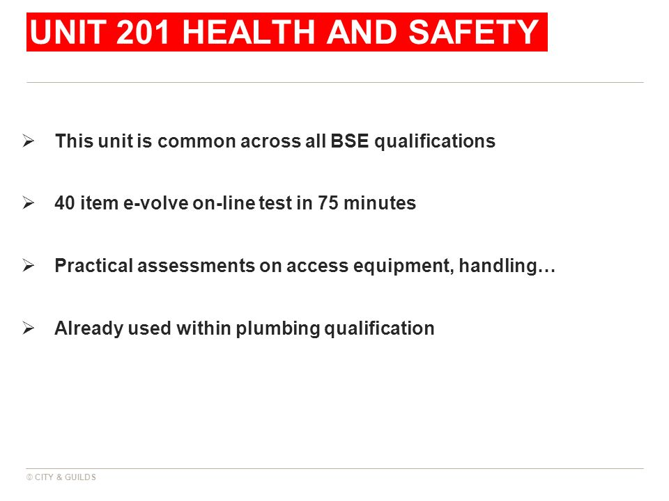 UNIT 201 HEALTH AND SAFETY This unit is common across all BSE qualifications 40 item e-volve on-line test in 75 minutes Practical assessments on acces