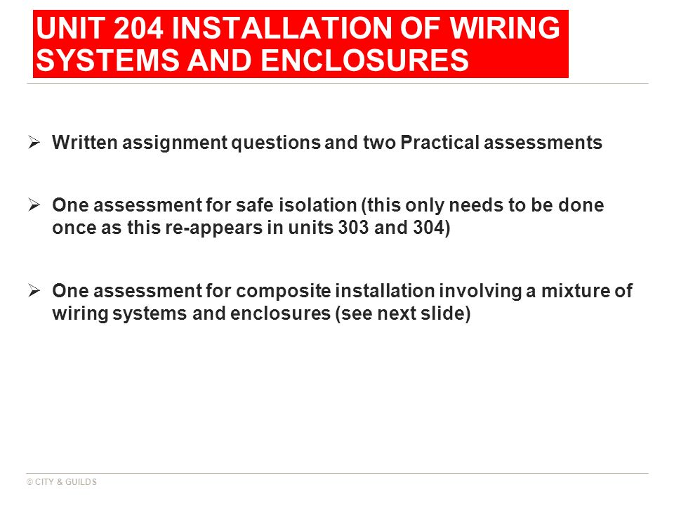 UNIT 204 INSTALLATION OF WIRING SYSTEMS AND ENCLOSURES Written assignment questions and two Practical assessments One assessment for safe isolation (t