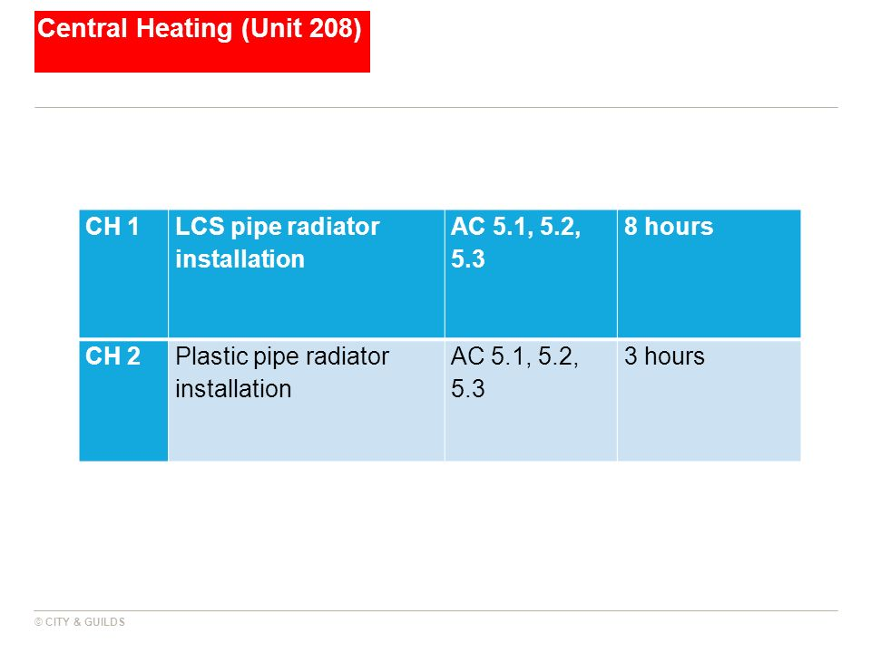 Central Heating (Unit 208) © CITY & GUILDS CH 1 LCS pipe radiator installation AC 5.1, 5.2, 5.3 8 hours CH 2Plastic pipe radiator installation AC 5.1,