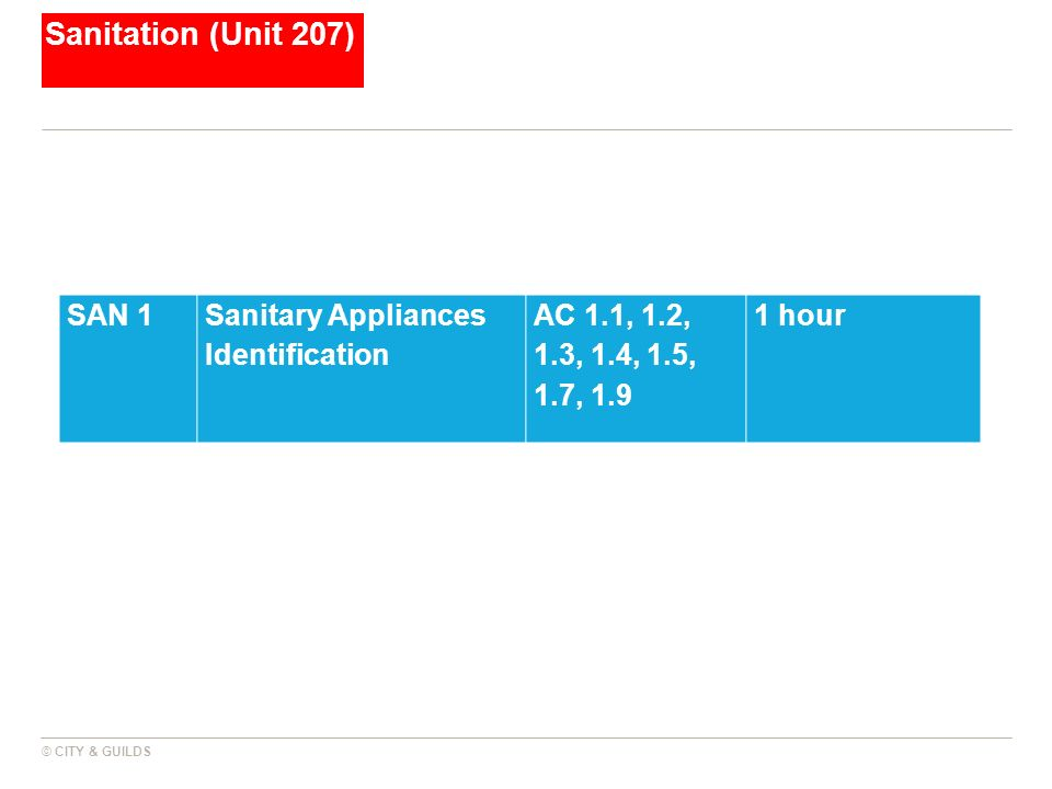 Sanitation (Unit 207) © CITY & GUILDS SAN 1Sanitary Appliances Identification AC 1.1, 1.2, 1.3, 1.4, 1.5, 1.7, 1.9 1 hour