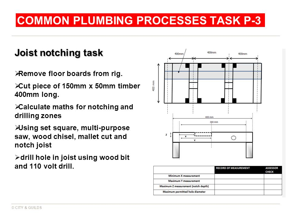 COMMON PLUMBING PROCESSES TASK P-3 Joist notching task Remove floor boards from rig. Cut piece of 150mm x 50mm timber 400mm long. Calculate maths for