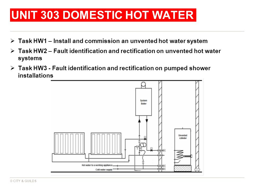 UNIT 303 DOMESTIC HOT WATER Task HW1 – Install and commission an unvented hot water system Task HW2 – Fault identification and rectification on unvent