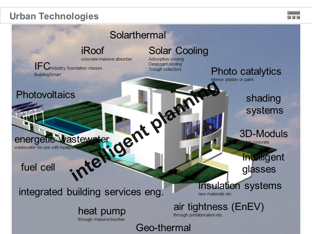 Photovoltaics Solarthermal energetic wastewater wastewater for use with heatpump Geo-thermal Solar Cooling Adsorption cooling Desiccant cooling Trough collectors IFC Industry foundation classes BuildingSmart Insulation systems new materials etc.