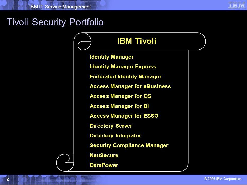 IBM IT Service Management © 2006 IBM Corporation 13