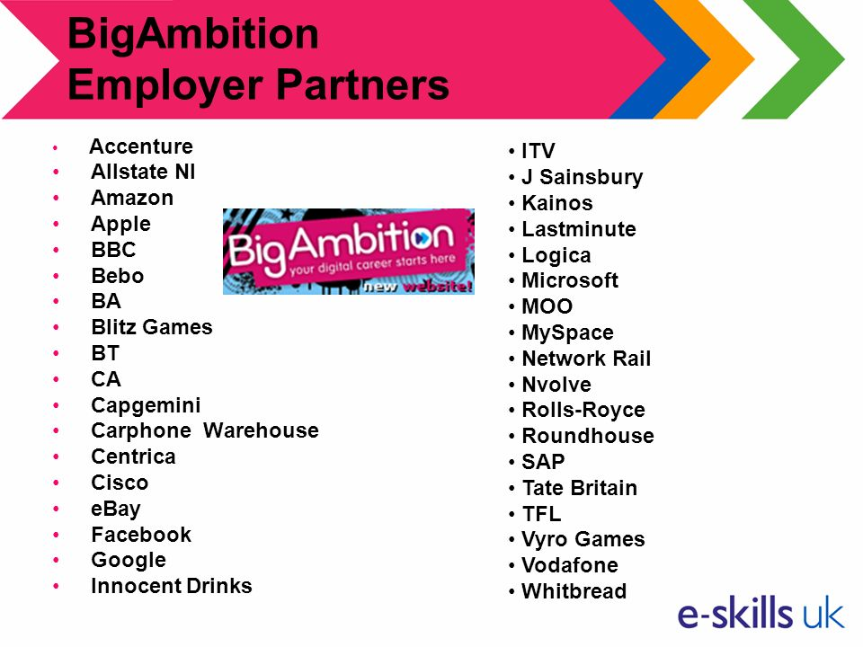 BigAmbition Employer Partners Accenture Allstate NI Amazon Apple BBC Bebo BA Blitz Games BT CA Capgemini Carphone Warehouse Centrica Cisco eBay Facebook Google Innocent Drinks ITV J Sainsbury Kainos Lastminute Logica Microsoft MOO MySpace Network Rail Nvolve Rolls-Royce Roundhouse SAP Tate Britain TFL Vyro Games Vodafone Whitbread