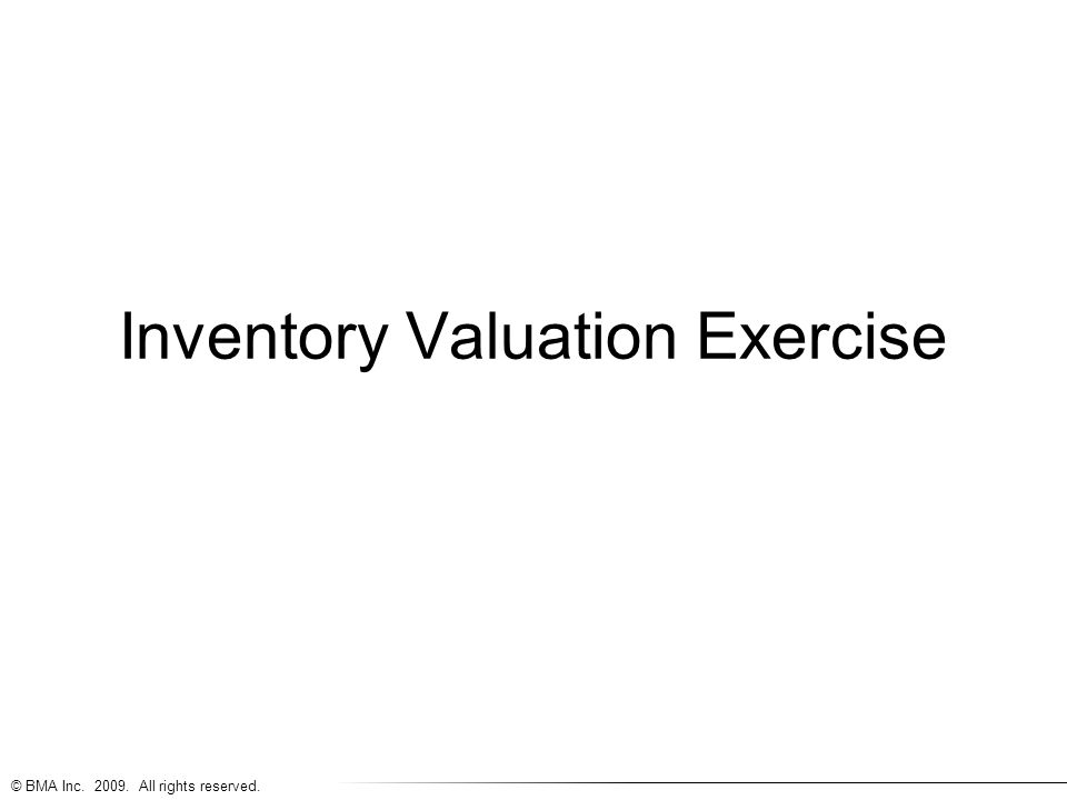 Inventory Valuation Exercise