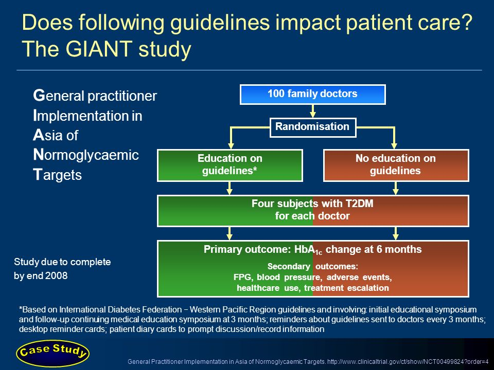 Does following guidelines impact patient care? The GIANT study G eneral practitioner I mplementation in A sia of N ormoglycaemic T argets 100 family d