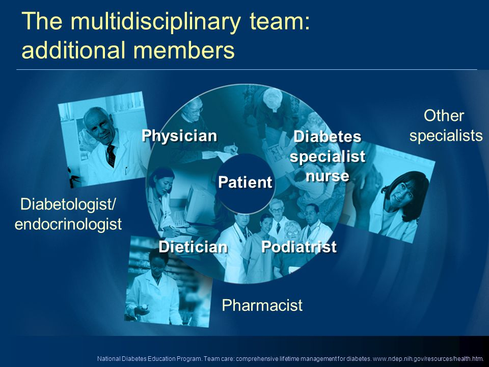The multidisciplinary team: additional members Pharmacist Diabetologist/ endocrinologist Other specialists Dietician Diabetes specialist nurse Patient
