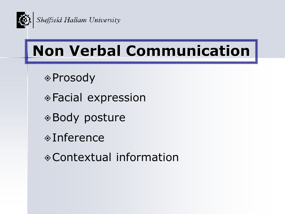 Prosody Facial expression Body posture Inference Contextual information Non Verbal Communication