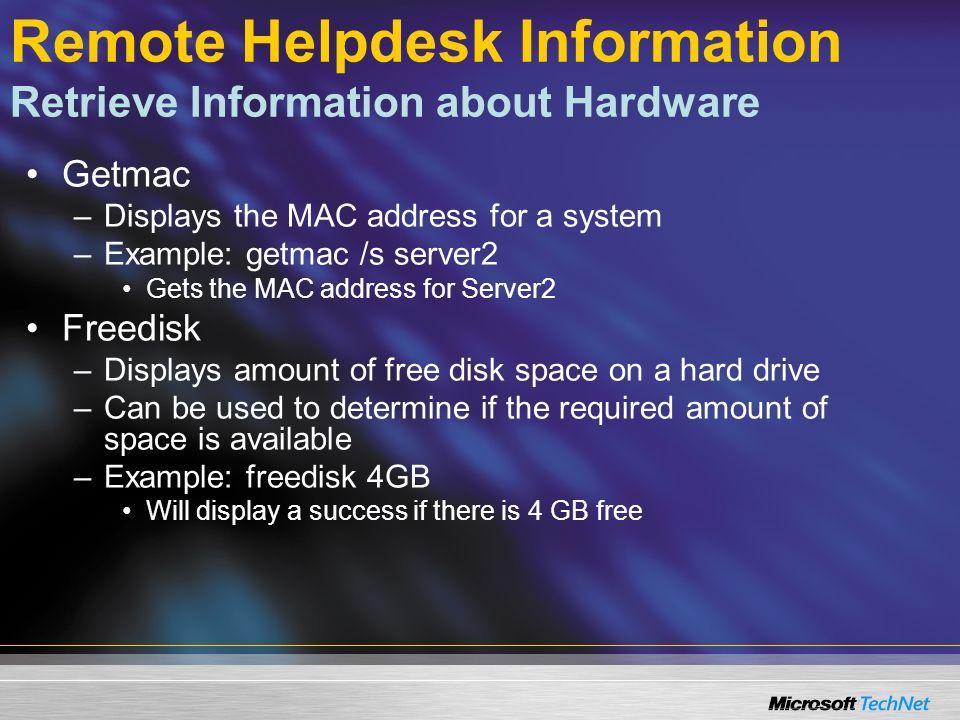 Agenda Remote Helpdesk Information Remote Helpdesk Administration Active Directory Administration Printer Management WMIC Administration