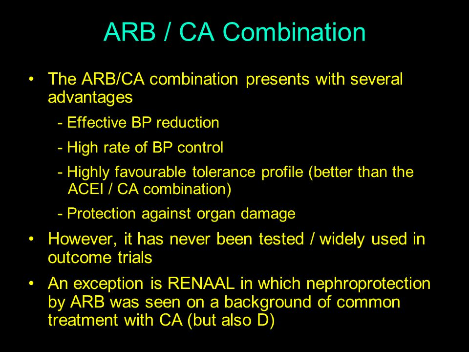 ARB / CA Combination The ARB/CA combination presents with several advantages - Effective BP reduction - High rate of BP control - Highly favourable to