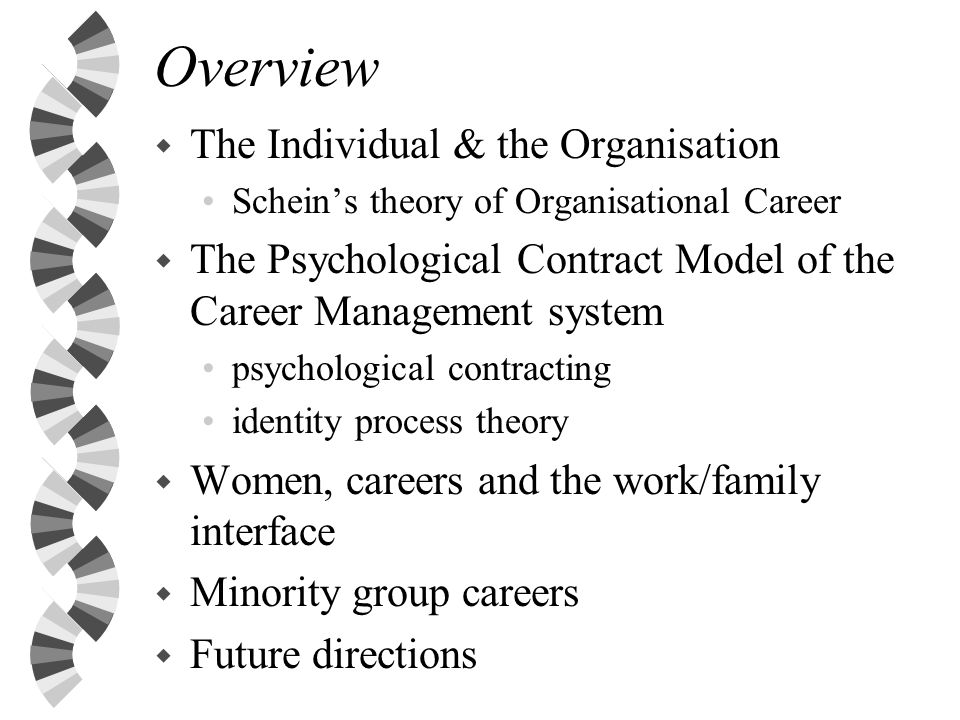 Schein (1971) Theory of the Organisational Career w The organisational career is about how individuals move through an organisation.