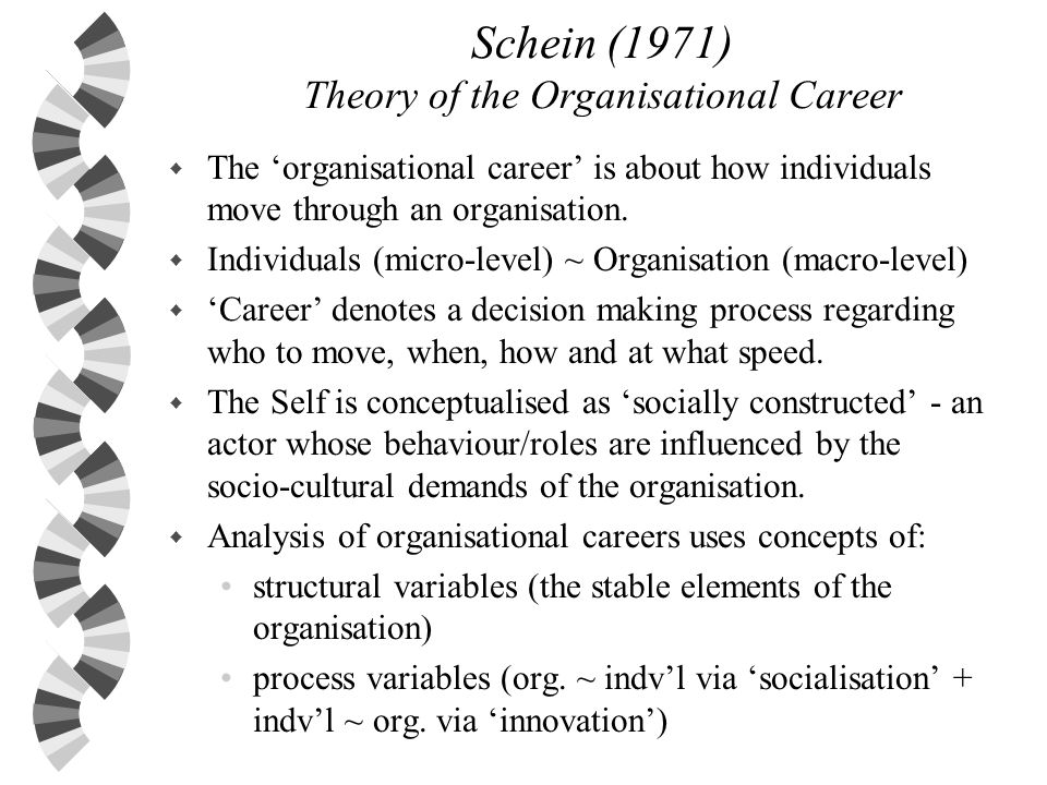 Schein (1971) Theory of the Organisational Career w The organisational career is about how individuals move through an organisation. w Individuals (mi