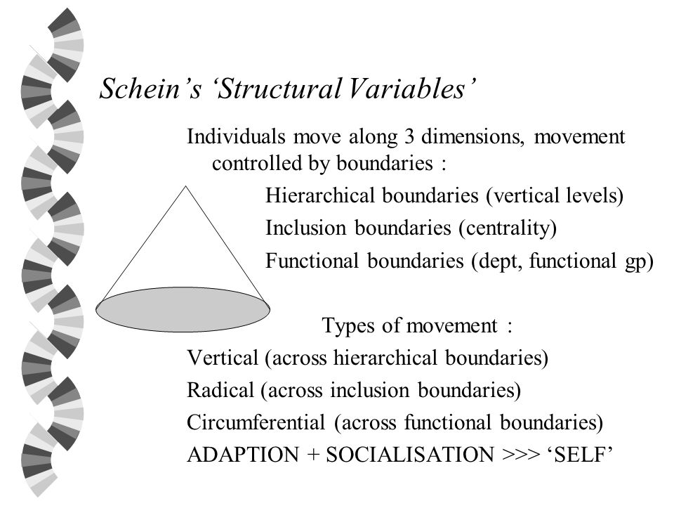 Scheins Structural Variables Individuals move along 3 dimensions, movement controlled by boundaries : Hierarchical boundaries (vertical levels) Inclus