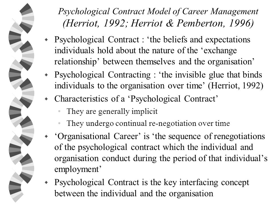 Psychological Contract Model of Career Management (Herriot, 1992; Herriot & Pemberton, 1996) w Psychological Contract : the beliefs and expectations i