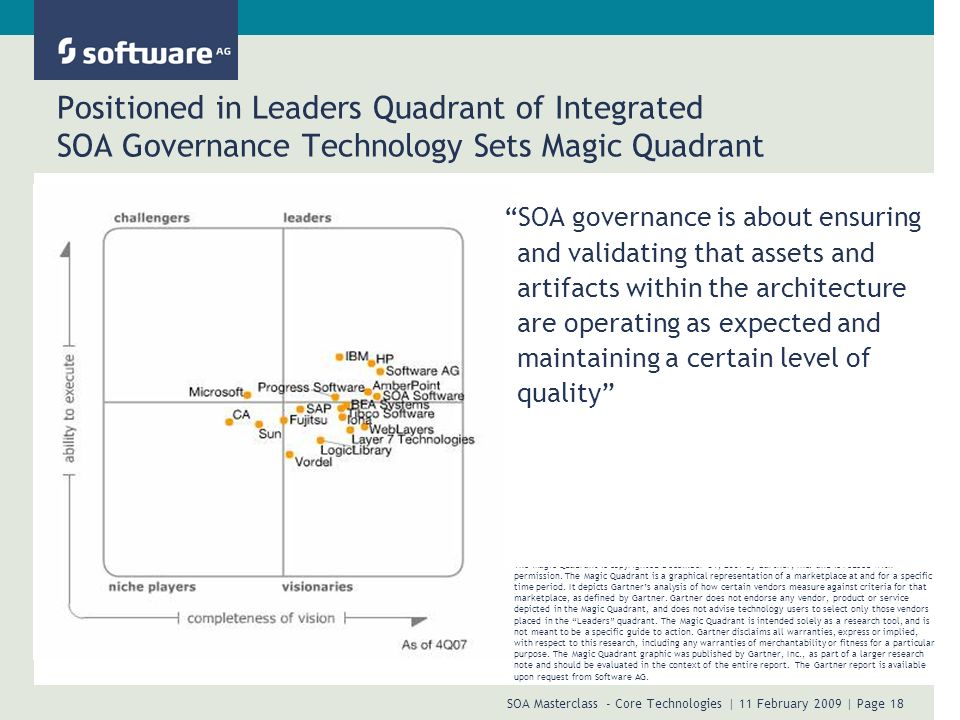 SOA Masterclass - Core Technologies | 11 February 2009 | Page 18 Positioned in Leaders Quadrant of Integrated SOA Governance Technology Sets Magic Qua