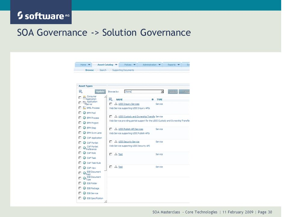 SOA Masterclass - Core Technologies | 11 February 2009 | Page 30 SOA Governance -> Solution Governance