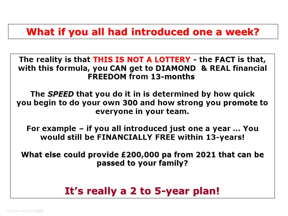 THIS IS NOT A LOTTERYFACT CANDIAMOND FREEDOM13-months The reality is that THIS IS NOT A LOTTERY - the FACT is that, with this formula, you CAN get to